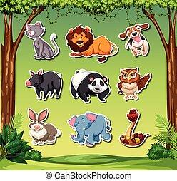 Set of different animals stickers
