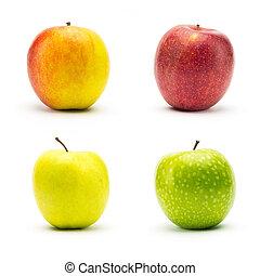 set of different apple varieties