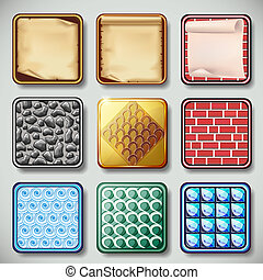 Set of different apps icons vector