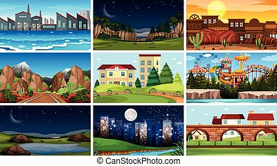 Set of different background scene illustration