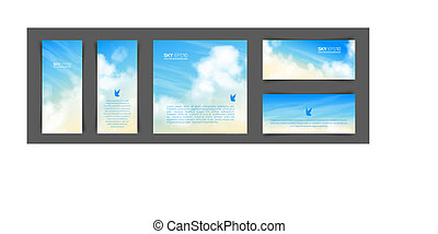 Set of different backgrounds with realistic beige-blue sky