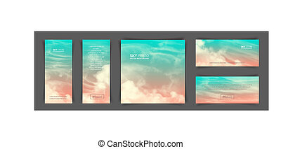 Set of different backgrounds with realistic pink-blue sky