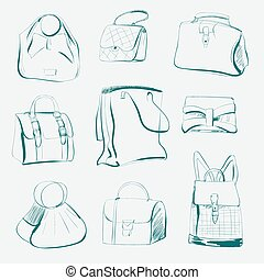 set of different bags, sketch, vect