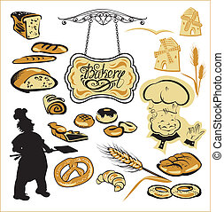 Set of different bakery - bread, pie, biscuit, cakes. Hand...