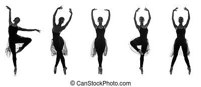 Set of different ballet poses. Black and white traces isolated o