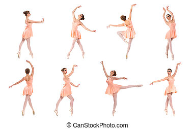 Set of different ballet poses isolated on white.