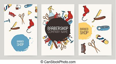 Set of different barbershop advertising backgrounds. Colorful backdrops with tools. Vector templates collection.