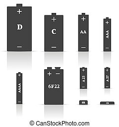 Set of different batteries, vector