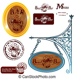 Set of different beer bar menu