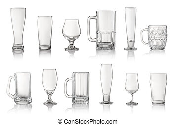 Set of different beer glasses isolated on white