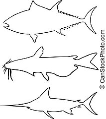 Set of different big fish silhouettes