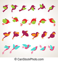 Set of different birds icons