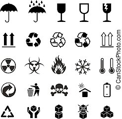 Set of different black cargo symbols on white
