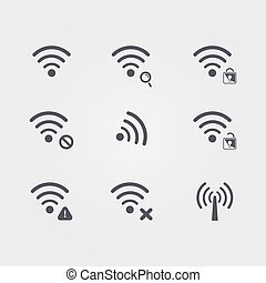 Set of different black vector wifi and wireless icons