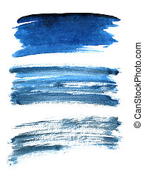 Set of different blue brush strokes isolated on the white ...