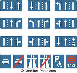 Set of different blue road signs on white