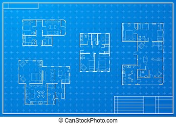Blueprint house vector eps10 illustration clip art vector search set of different blueprint house plans malvernweather Choice Image