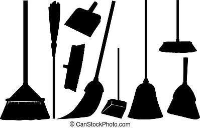 set of different brooms isolated on white