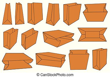 Set of different brown paper bags