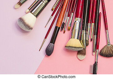 Set of different brushes for professional makeup, a multifunctional set of professional makeup artist.