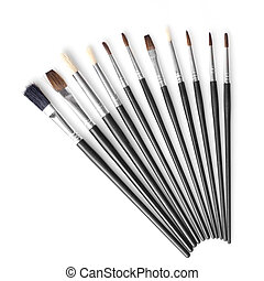 Set of different brushes isolated on white