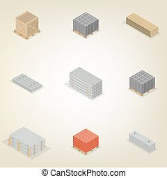 Set of different building materials in 3D, vector illustration.