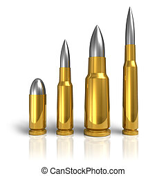 Set of different bullets