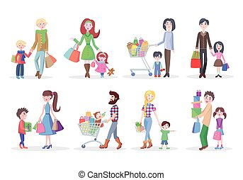 Set of Different Buying People on White Background