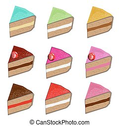 Set of different cake slices. Vector illustration