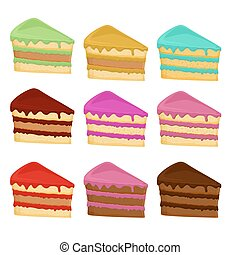 Set of different cake slices.