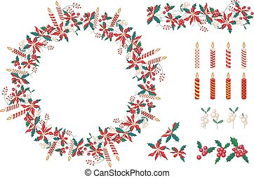 Set of different candles  and Christmas decoration isolated