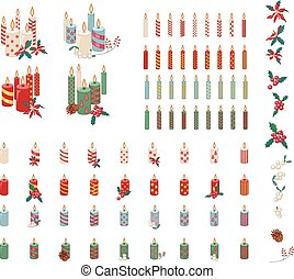 Set of different candles with Christmas decoration isolated