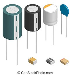 Set of different capacitors in 3D, vector illustration.