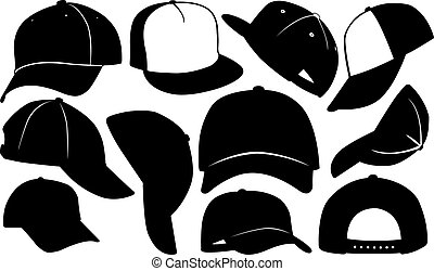 cap - set of different caps isolated