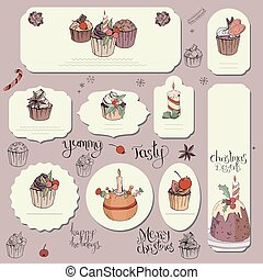 Set of different cards with traditional winter desserts and decor. Template for season and Christmas design, greeting cards, invitations and decoration.