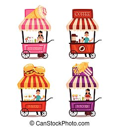 Set of different carriages with fast food