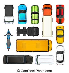Set of different cars top view, on white