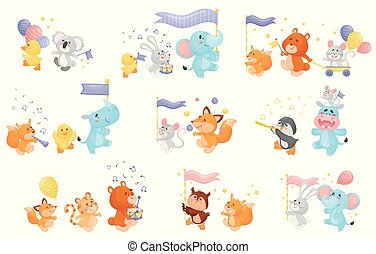Set of different cartoon animals with musical instruments at the parade. Vector illustration on a white background.
