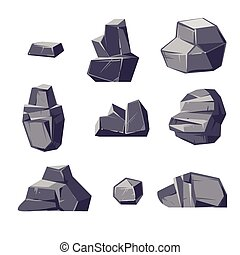 Set of different cartoon-style boulders isolated on white background