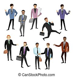 set of different caucasian businessman character,avatar or...
