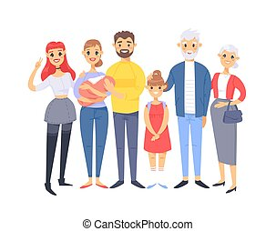 Set of different caucasian couples and families. Cartoon...