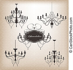 Set of different chandelier.