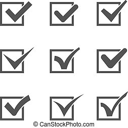 Set of different check marks in boxes - Set of nine...