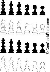 Set of different chess pieces