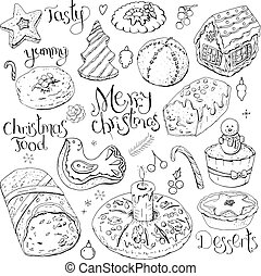 Set of different Christmas and winter desserts isolated on...