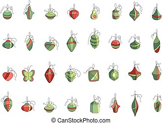 Set of different Christmas decorations isolated on white. Simple colors.