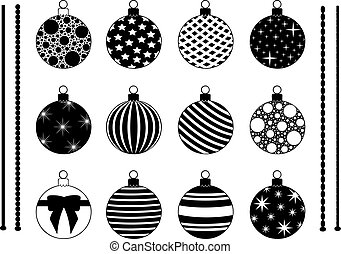 Set of different Christmas decorations