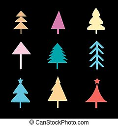 Set of different Christmas trees si