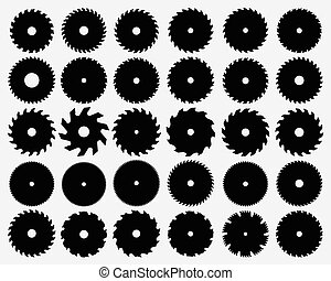 saw blades - Set of different circular saw blades, vector