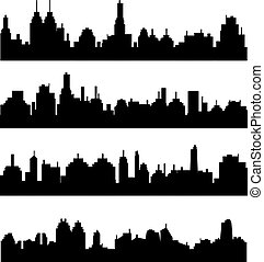 Set of different city silhouettes on white